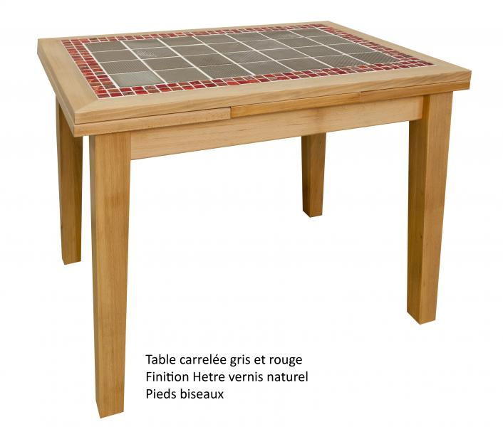 Table rectangulaire carrelée avec 2 allonges Made in France, fabrication artisanale