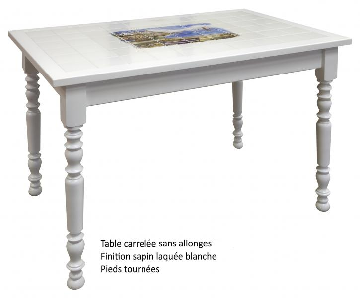 Table rectangulaire carrel e avec 2 allonges made in for Table cuisine blanche bois