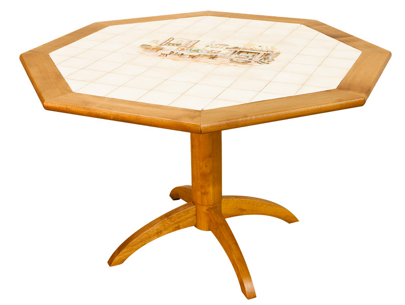 table octogonale carrele en htre 120 cm - Table Cuisine Ronde Pied Central