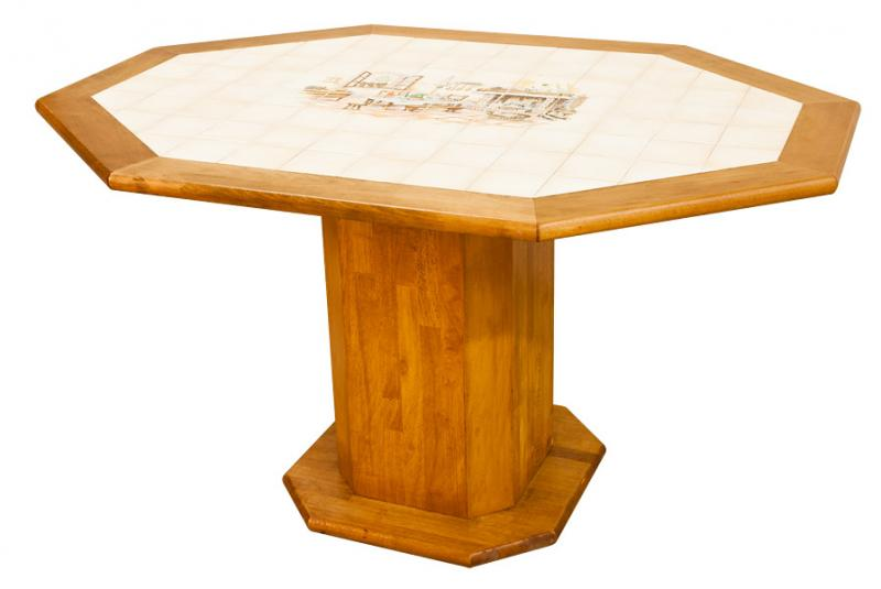 Table ronde carrel e en bois made in france fabrication for Table ronde en bois exterieur