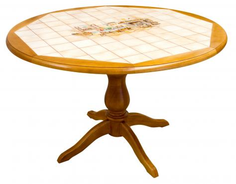 Table ronde carrelée en hêtre 120 cm