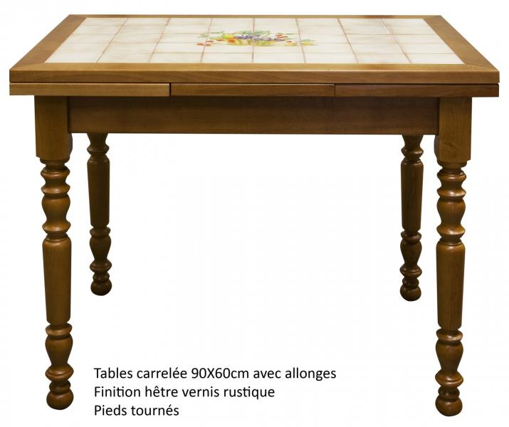 Table rectangulaire carrelée avec 2 allonges Made in France ...