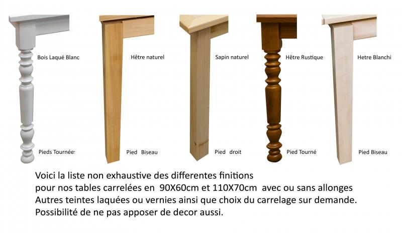 Table rectangulaire carrel e avec 2 allonges made in france fabrication arti - Faire des pieds de table ...